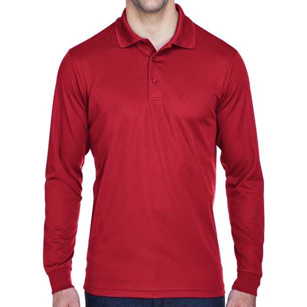 Mens Moisture-Wicking Long Sleeve Polo Shirt - Red, Small