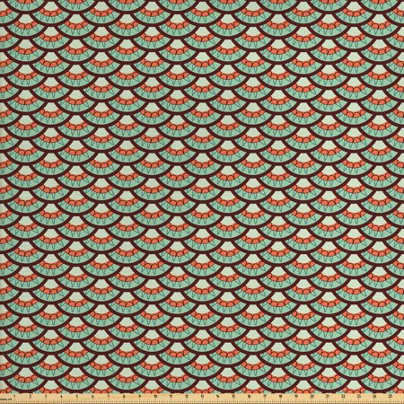 Abstract Fabric by The Yard, Scales Tile Pattern in Retro Colors Rounded Motifs Influences, Decorative Fabric for Upholstery and Home Accents, by Ambesonne ()