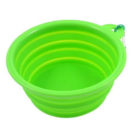 Unique Bargains Household Soft Silicone Folding Pet Puppy Dog Cat Water Food Bowl Green