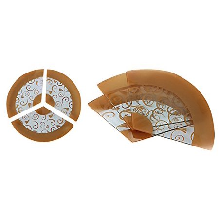 GAC Set of 3 Tempered Glass Plates Fan Shaped, 3 Section Serving Tray with Gold Paisley Design Break and Chip Resistant - Oven and Microwave Safe - Dishwasher Safe Decorative Plates (Fax Tray)