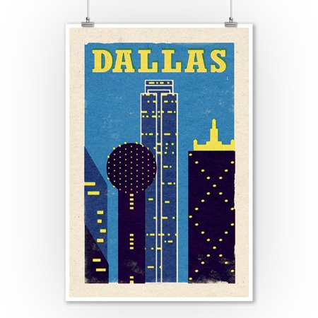 Dallas, Texas - Woodblock - Lantern Press Artwork (9x12 Art Print, Wall Decor Travel Poster)](Halloween Events Dallas Texas)
