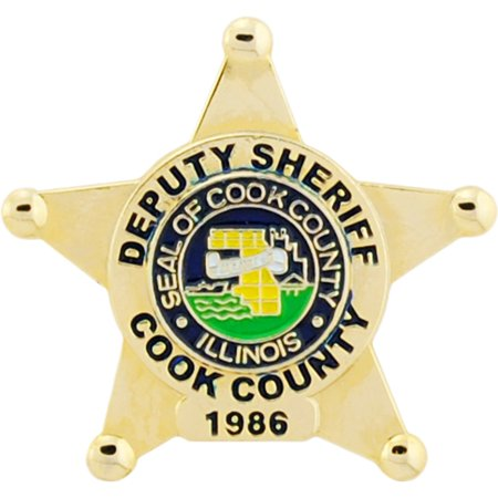 Yellow Gold Cameo Pin - Cook County Deputy Sheriff Badge Pin 1