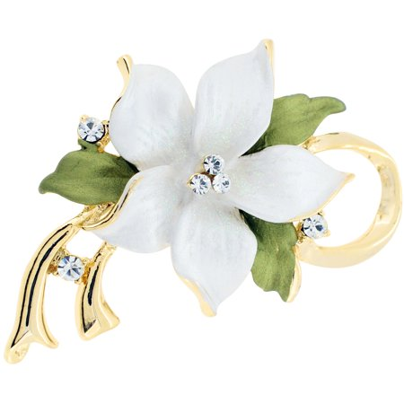 - White Poinsettia Christmas Flower Swarovski Crystal Pin Brooch and Pendant