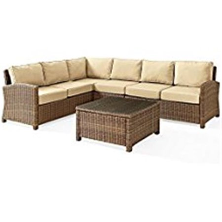 Image of Crosley Furniture Bradenton 5-Piece Outdoor Wicker Seating Set with Sand Cushions - Right Corner Loveseat, Left Corner Loveseat, Corner Chair, Center Chair, Sectional Glass Top Coffee Table