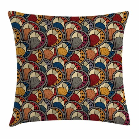 African Throw Pillow Cushion Cover, Paisley Motifs with Geometric Design Dots and Lines Teardrop Shape with Curved Tip, Decorative Square Accent Pillow Case, 18 X 18 Inches, Multicolor, by (Tear Drop Shape)