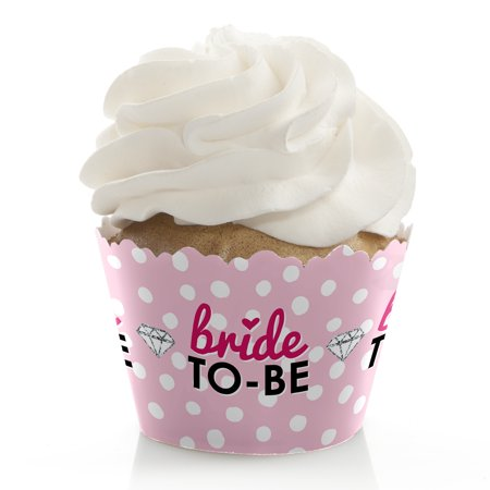 Bride-To-Be - Bridal Shower & Classy Bachelorette Party Cupcake Wrappers - Cupcake Decorations - Set of 12