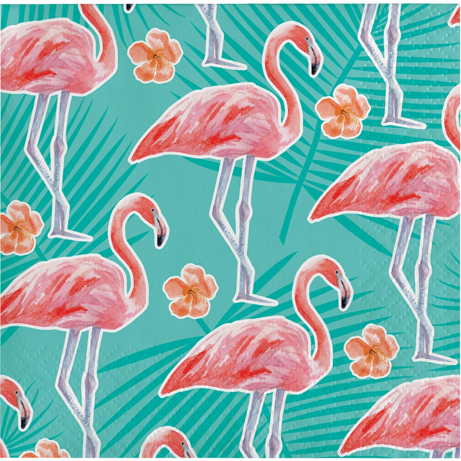 """Club Pack of 192 Blue and Pink Tropical Island Oasis Beverage Napkins 5"""""""