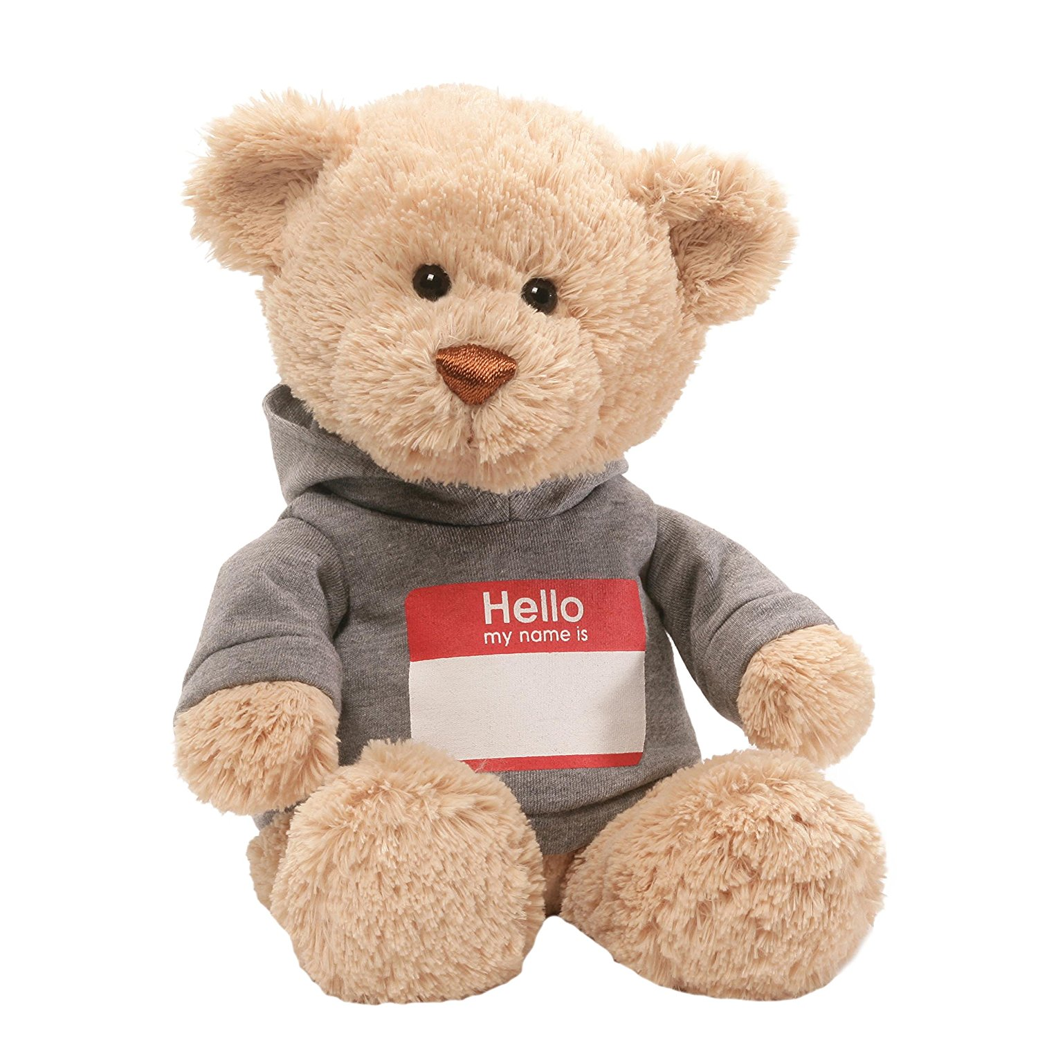 Hello My Name Is T-Shirt Stuffed Teddy Bear, Beige plush teddy bear featuring gray hoodie with a printed Hello My Name Is nametag By GUND