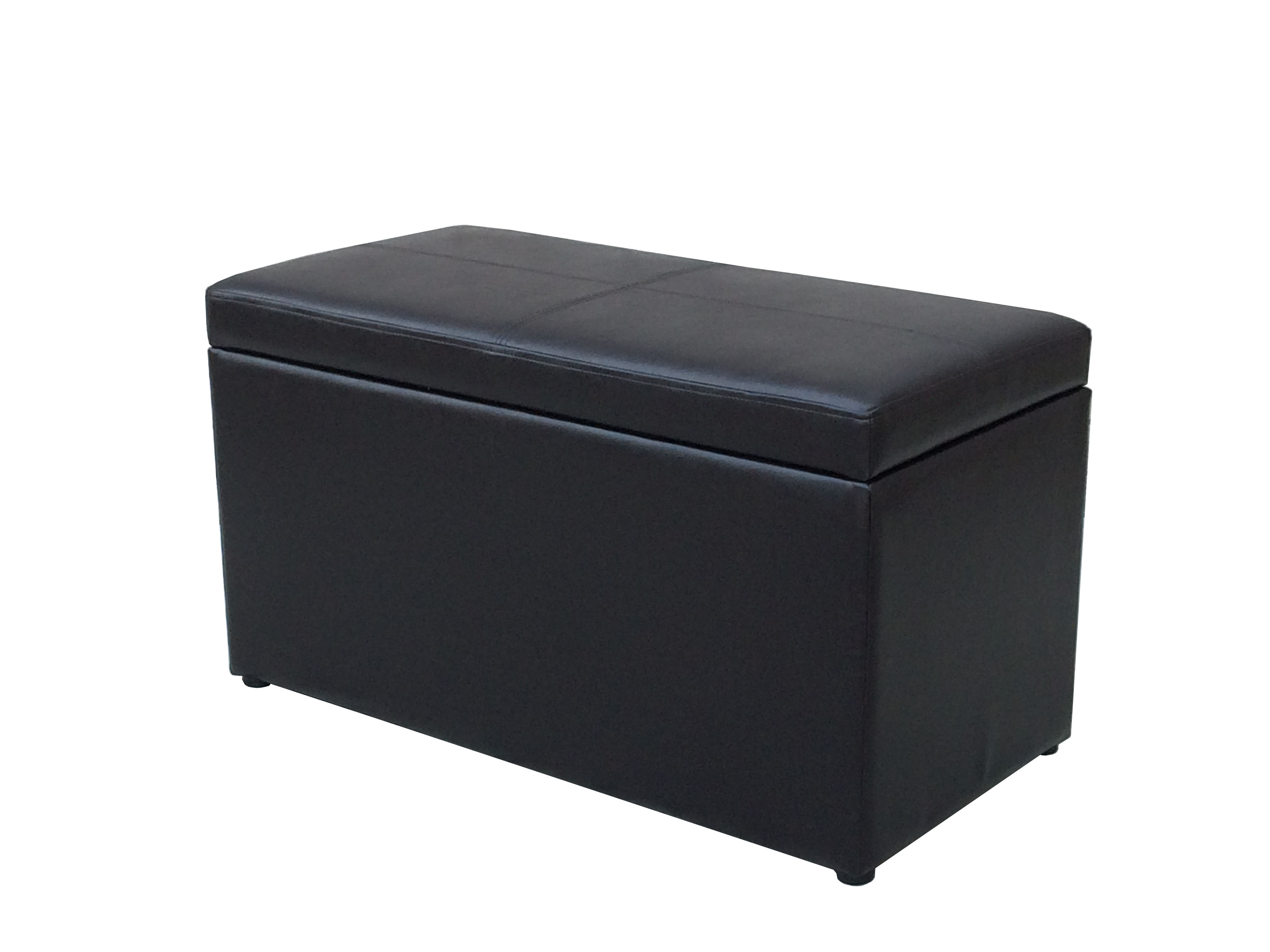 "Ottoman Storage Bench 30"" Stool Faux Leather Hinged Lid"