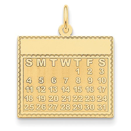 Yellow Jackets Seal Pendant - 14k Yellow Gold Thursday The First Day Calendar Pendant Charm Necklace
