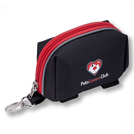 PetsLovers Dog Leash Bag   Large Compartments, Secure Velcro Strap, Keychain & Reflective Lines   For Poop Bags, Treats, Credit Cards & More (Credit Card Dog Toy)