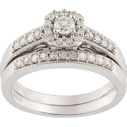 1/2 CT. T.W. Diamond 10kt. White Gold Bridal Set
