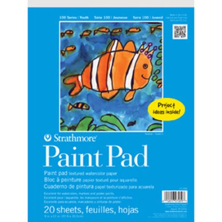 Strathmore 100 Series Youth Paint Pad, 9x12, 20 Sheets, Textured Paper