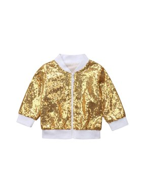 f01f86315a38f Product Image Toddler Kid Baby Girl Long Sleeve Front Zipper Sequin Bomber  Jacket Shining Outwear Coat