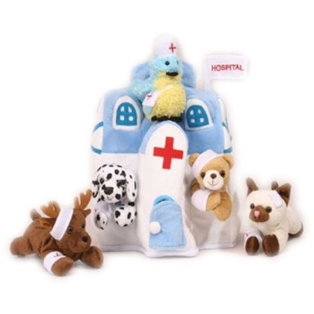 Plush Animal Hospital House with Animals - Five (5) Stuffed Injured Animals (Bear, Dalmatian, Cat, Bird, Moose) in Play Hospital](Dalmatian Stuffed Animals)