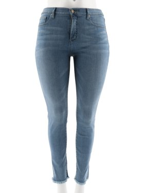 ac562a62734 Product Image Isaac Mizrahi TRUE DENIM Frayed Hem Ankle Jeans A302214