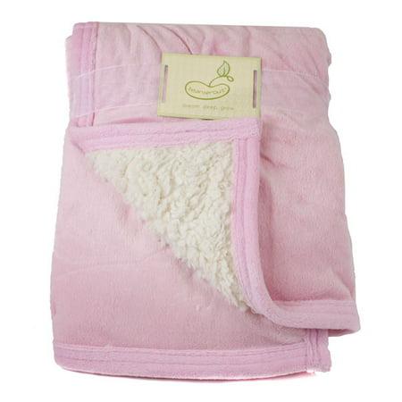 Image of Micro Mink Reversing to Sherpa Crib Throw Pink