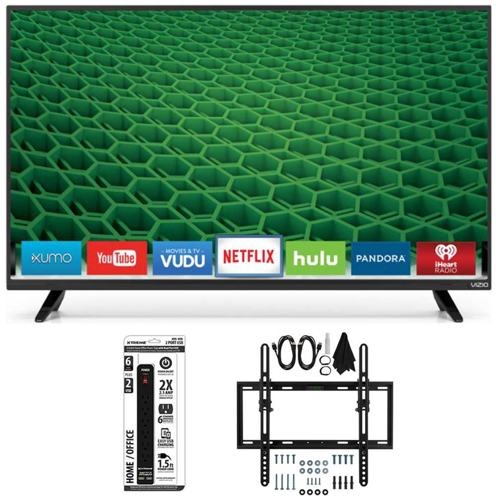 Vizio D32-D1 - 32-Inch Full HD LED Smart TV Flat + Tilt Wall Ultimate Bundle