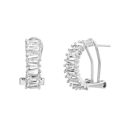 - Lesa Michele Women's White Cubic Zirconia Baguette Shape Post Clip Hoop Earrings in Rhodium Plated Sterling Silver