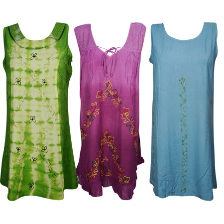 Mogul Womens Shift Dress Boho Chic Embroidered Sleeveless Gypsy Beach Wear S Wholesale Lot Of - Women Wholesale