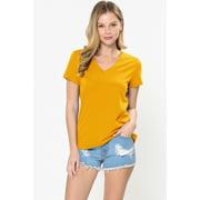 Women's Elastic Basic Summer Lightweight Tee Shirt Cap Sleeve V Neck Top In Mustard Size S