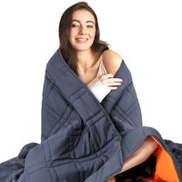 Oxkers Weighted Blanket, Weighted Blanket 12 lbs, Cool Heavy Blanket of Breathable Microfiber Fabric with Small Pockets for Odorless Glass Beads, Blue and Orange Blanket for Home Adults Kids