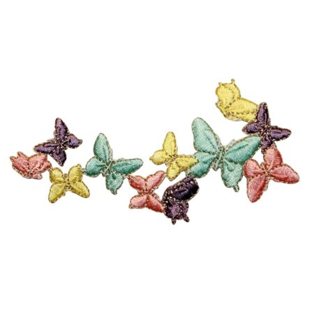 ID 2007 Butterfly Chain Patch Cluster Bunch Insect Embroidered Iron On Applique