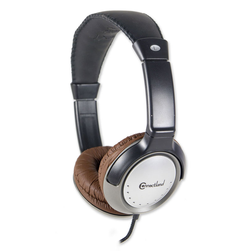 Connectland 3.5 mm Circum-aural Stereo Headphone Headset with Mic Volume Control