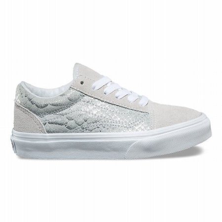 Vans Kids Authentic Old School Fashion Sneakers Size 4 Big Kids - Sparkly Silver Vans