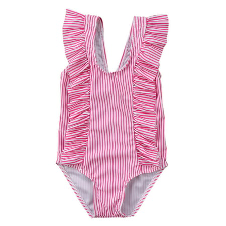 2f2a4808dc271 StylesILove - stylesilove Baby Girl Ruffle Striped Swimsuit One-Piece  (90/12-18 Months, Pink) - Walmart.com