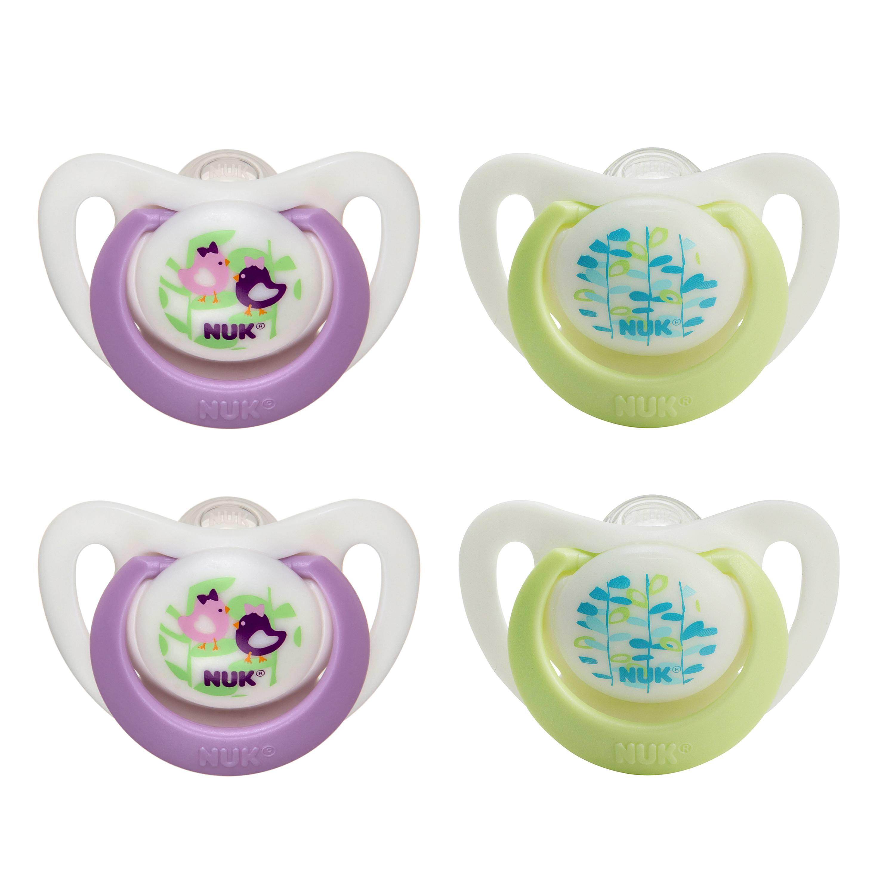 NUK Advanced Orthodontic Newborn Pacifiers, 0-2 Months, Girl Colors - 4 Counts