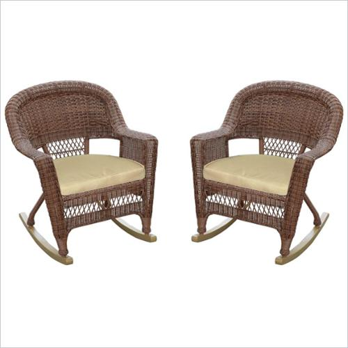 Jeco Wicker Chair in Honey with Tan Cushion (Set of 4)