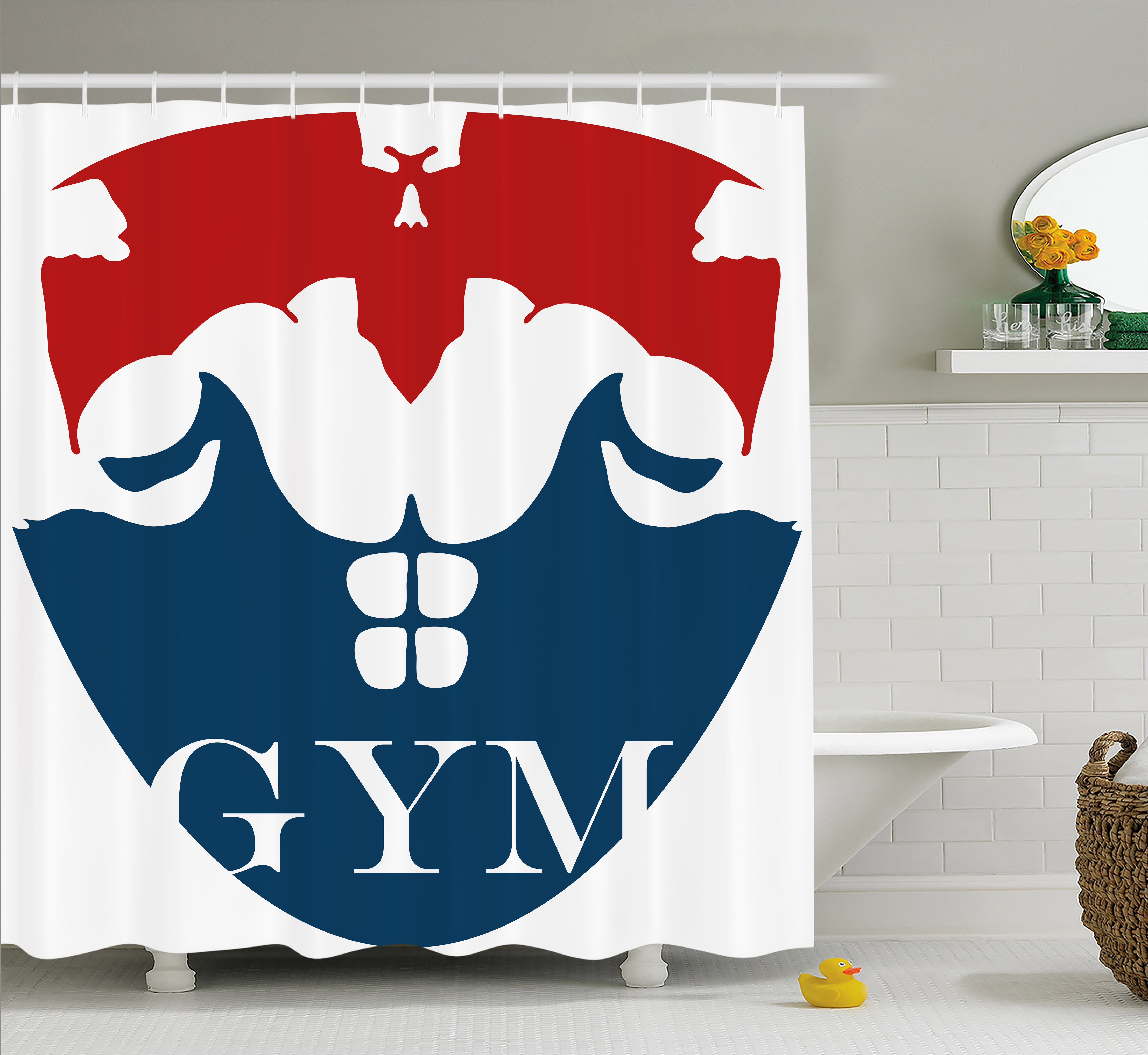Fitness Shower Curtain, Strong Muscular Man with Biceps Powerful Athlete Bodybuilder Trainer Gym Logo, Fabric Bathroom Set with Hooks, 69W X 84L Inches Extra Long, Red Blue White, by Ambesonne