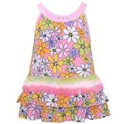 Lipstik Little Girls Multi Color Floral Print Rhinestone Sleeveless Shirt 4