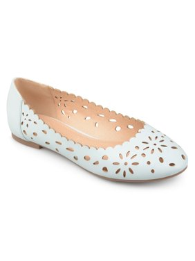 d210a735a2ba Product Image Women s Faux Leather Wide Width Scalloped Laser-cut Round Toe  Flats