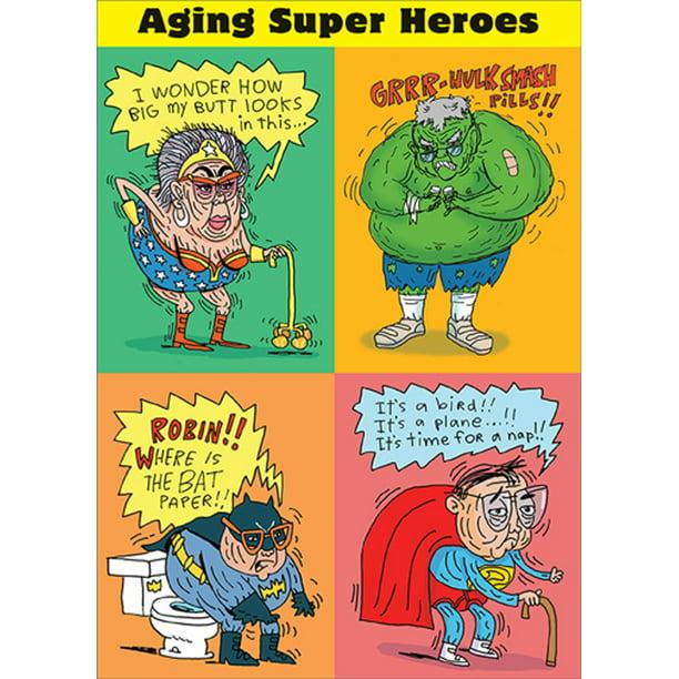 rsvp aging super heroes funny  humorous birthday card
