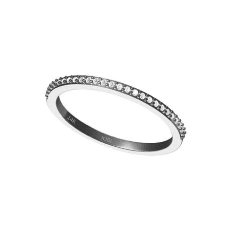 14k Tri Color Band Ring (Lillianne 14K White Gold .22CT Pavé Band IOBI Simulated Diamond Ring 7 )