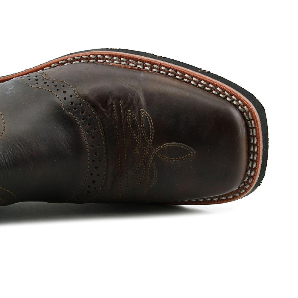 "Laredo Western Boots Mens 11"" Square Toe Jhase Brandy Waxy Green 7887"