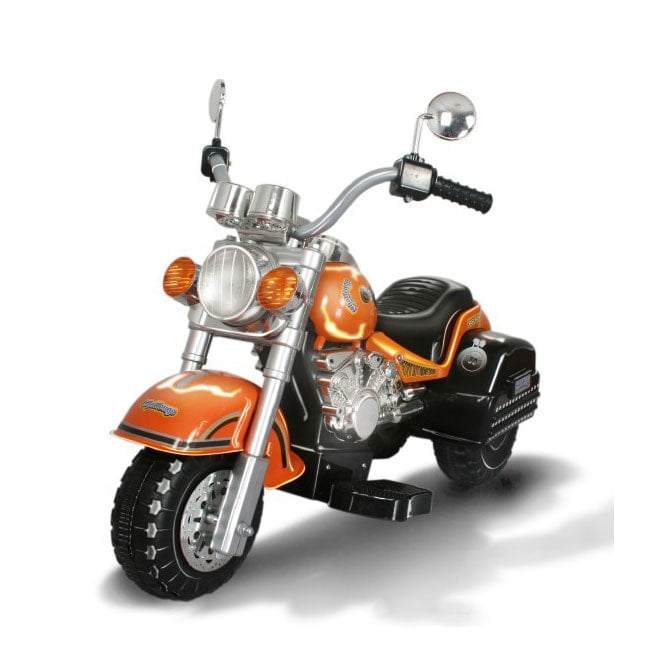 Merske Harley Chopper Style Motorcycle Battery Powered Riding Toy Orange by Overstock