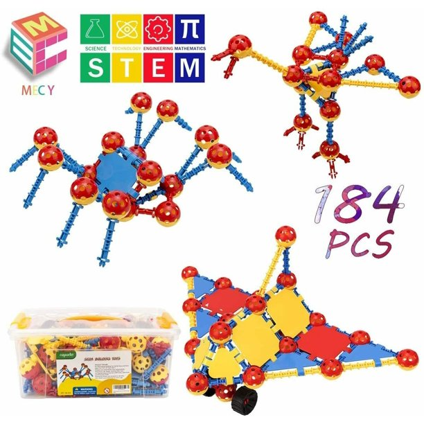 Stem Building Toys For Kids 184 Pcs Snap Together Building Kits Engineering Early Learning Building