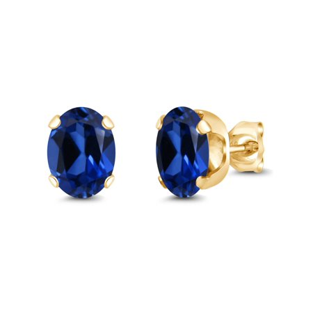 3.34 Ct 8x6mm Blue Simulated Sapphire 925 Yellow Gold Plated Silver Stud Earrings