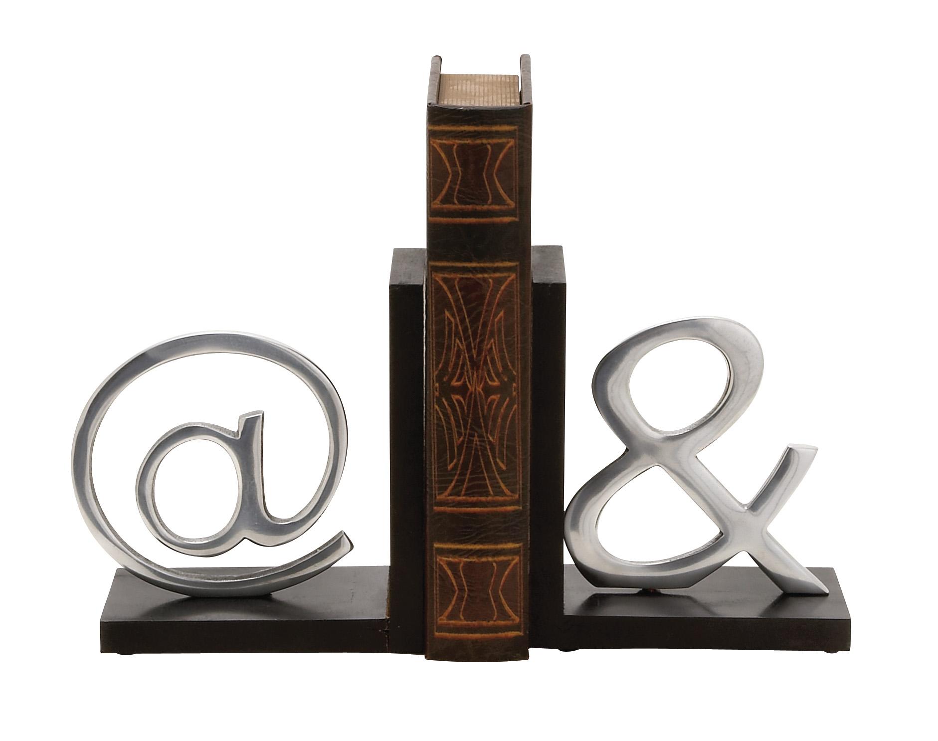 Astounding Wood Aluminium Bookend Pair by Benzara