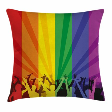 Pride Decorations Throw Pillow Cushion Cover, People Celebrating International Day for LGBT Community Colorful Striped, Decorative Square Accent Pillow Case, 16 X 16 Inches, Multicolor, by Ambesonne