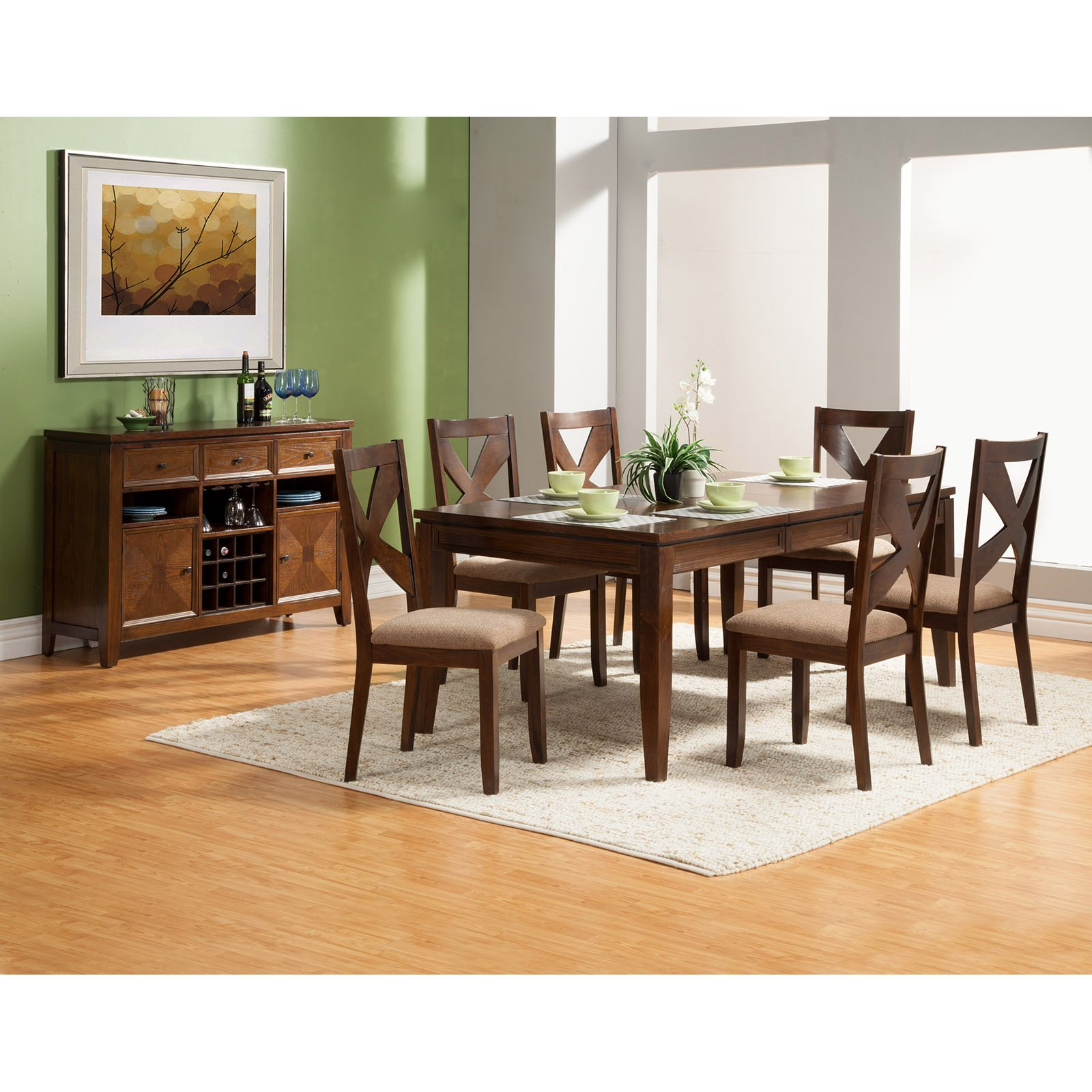 Alpine Furniture Albany 7 Piece Dining Set with Optional Server