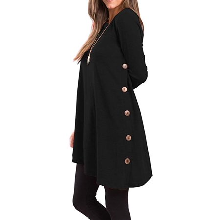 Women's Long Sleeve Scoop Neck Button Side Tunic Dress ()