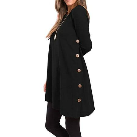 Women's Long Sleeve Scoop Neck Button Side Tunic Dress ()