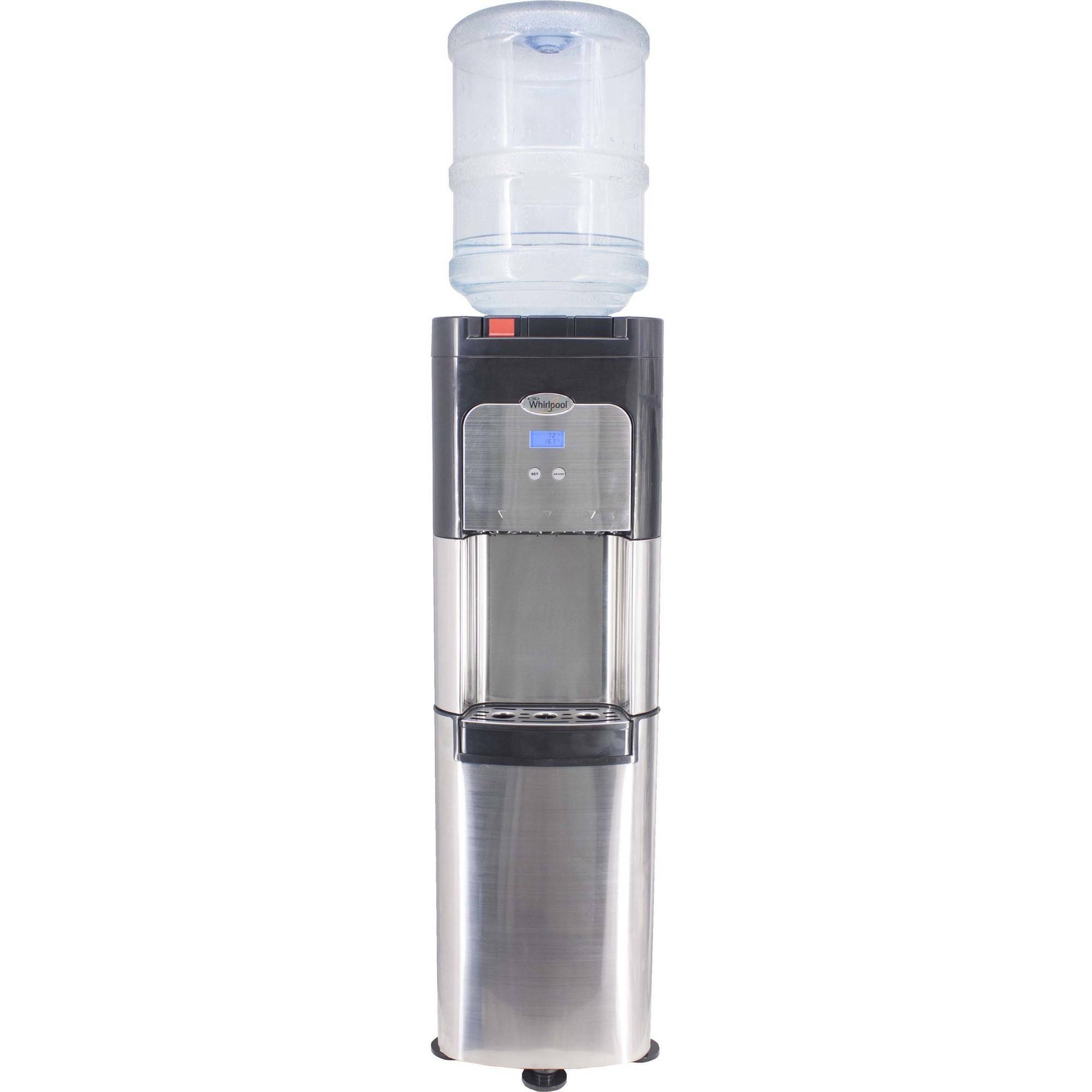 Whirlpool Stainless Steel Top Load Water Dispenser Water Cooler with Temperature Control and Cup Storage