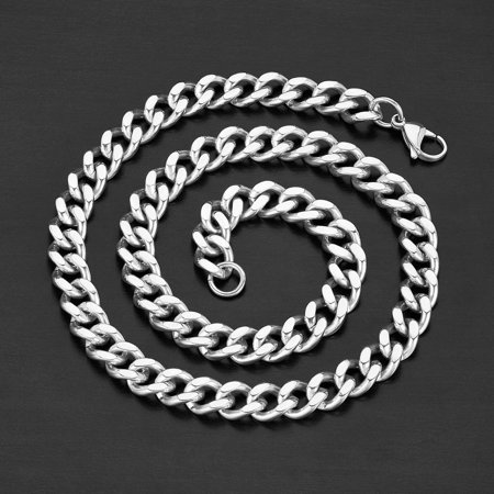 2f4f7b20ba532 West Coast Jewelry Crucible Polished Stainless Steel Curb Chain Necklace  (12mm Wide)