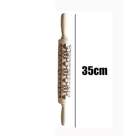 Embossed Wood - Christmas Rolling Pin Engraved Carved Wood Embossed Rolling Pin Kitchen Tool