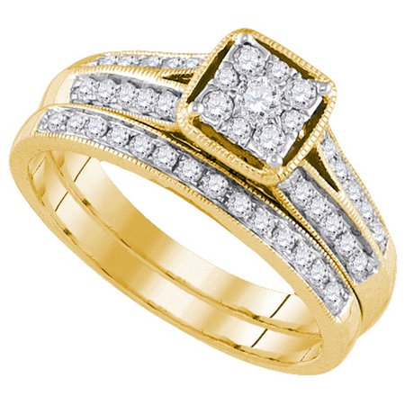Size - 7 - Solid 14k Yellow Gold Round White Diamond Bridal Square Shape Solitaire Engagement Ring with Matching Wedding Band (1/2 cttw)
